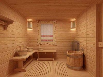 Оформление внутреннего интерьера бани: дизайн стен и потолка