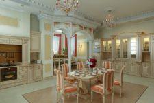 Кухня в классическом интерьере загородного дома