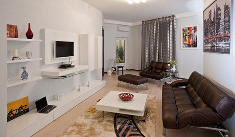 Дизайн вытянутой прямоугольной гостиной
