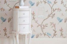 Обои для стен в стиле прованс в интерьере гостиной, спальни, кухни
