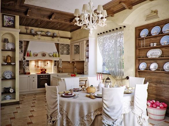 Дизайн кухни в стиле кантри-шарм деревенского уюта