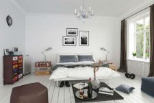Белоснежная скандинавская спальня