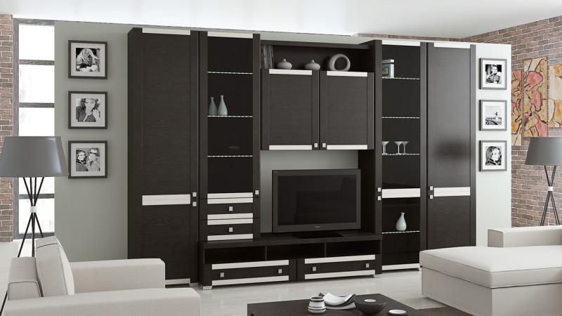 Особенности подбора мебельной стенки в современном стиле в гостиную