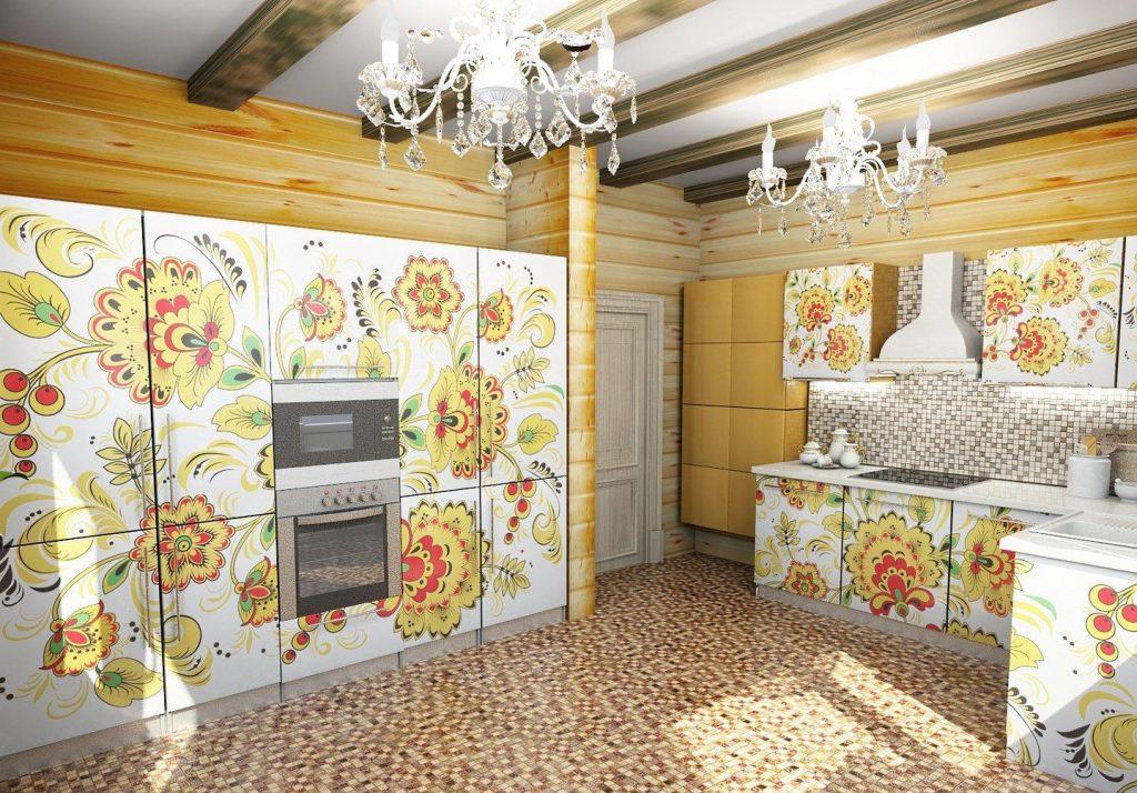 Элементы народной росписи в современном кухонном интерьере