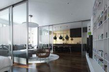 Визуальное увеличение свободного пространства с помощью стеклянных перегородок