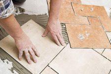 Монтаж керамической плитки на пол