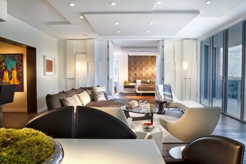 Двухуровневые потолки для гостиной из гипсокартона