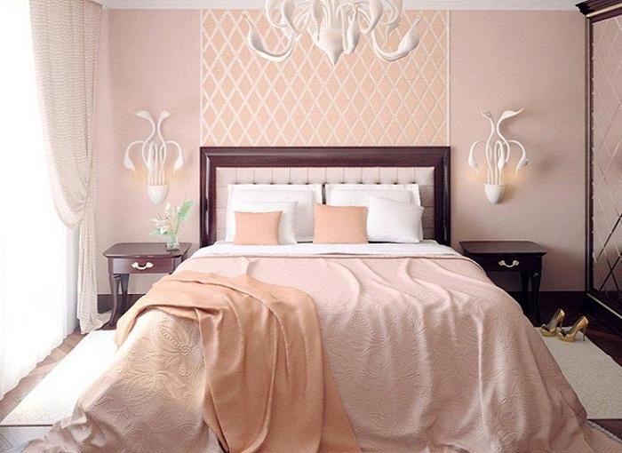 Спальни в персиковых тонах