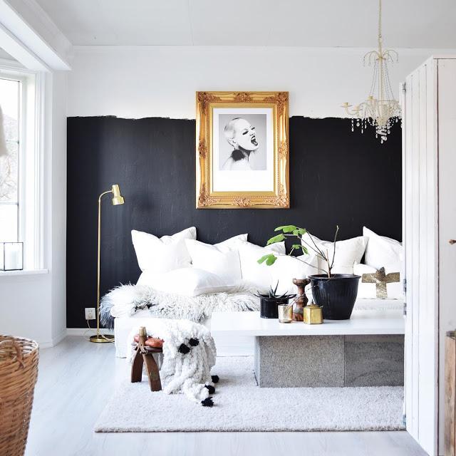 Как декорировать интерьер чёрно-белыми коврами