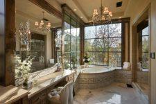 Дизайн ванной комнаты в стиле шале и рустик