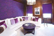 Фиолетовые обои — удачное решения для смелого дизайна
