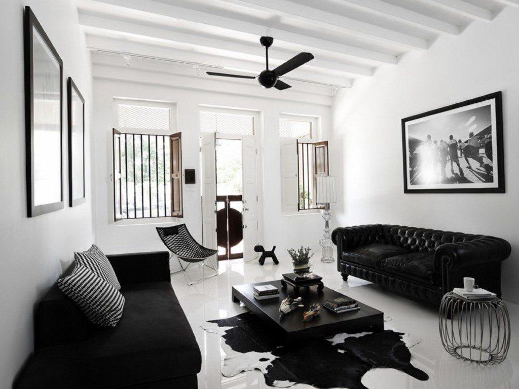 Черный и белый цвета в интерьере