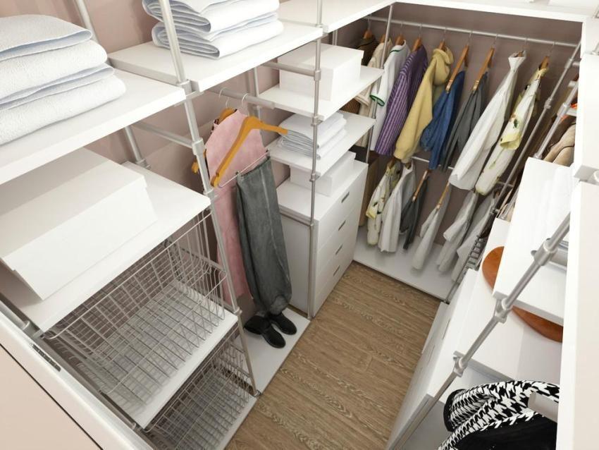 Внутреннее наполнение для гардеробной комнаты, наполнение компактных гардеробных